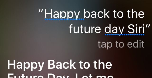 'Happy Back to the Future Day, Siri' (spoilers!!)